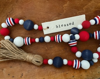 Red White + Blue Garland   Fourth of July Decor   Patriotic Americana Decor   July 4th Tiered Tray Decor   USA Independence Day Farmhouse