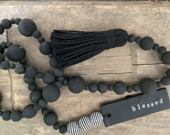 Custom Wood Bead Garland with Black Clay Tag   3ft   Modern Blessing Beads   Tier Tray  Wooden Bead Garland   Vignettes Display    Boho Chic
