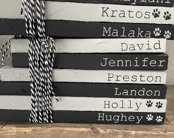 Black and Gray Book Stack   Hand Painted Custom   Industrial Shelf Decor   Personalized Boho Chic    Rustic Minimal   Modern Mantel Decor