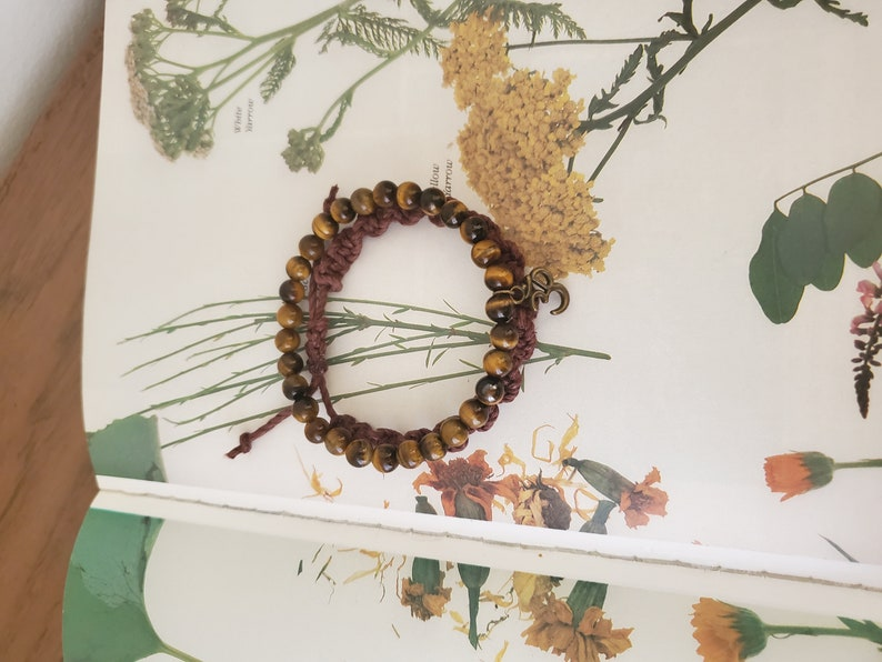 Tigers Eye Ohm Charm Stretch Bracelet Thick Brown Hemp Woven Adjustable Bracelet