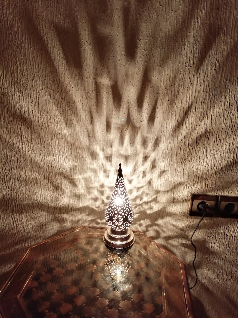 Moroccan spherical night light Lampshade Handmade brass decoration Pure Crafts of Fez Table lamp