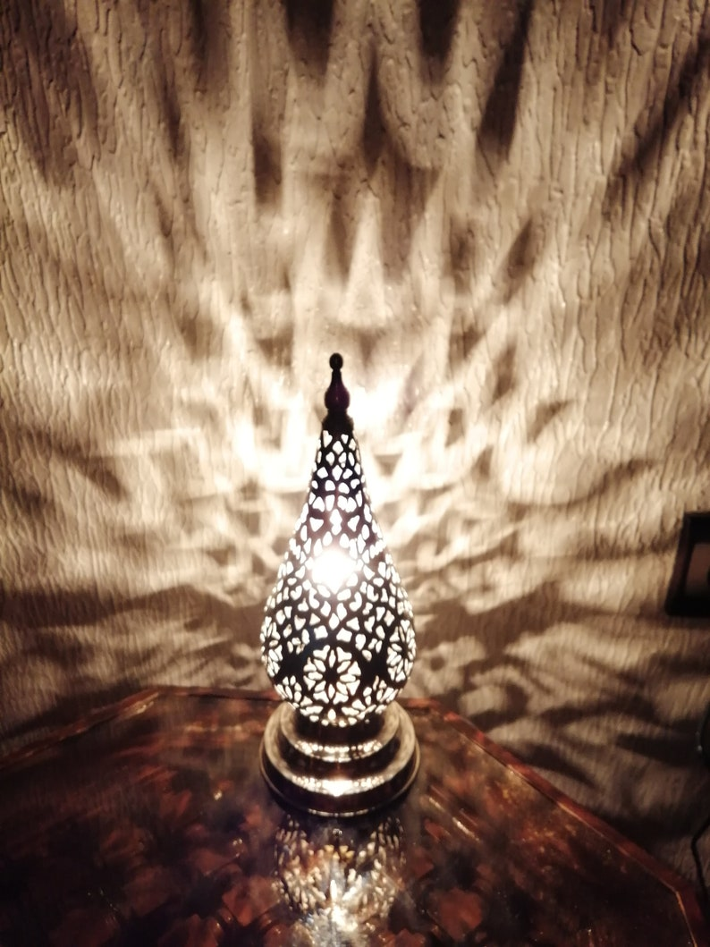 Moroccan night light Lampshade Table lamp Pure handcraft of Fez Morocco Handmade brass silvered decoration