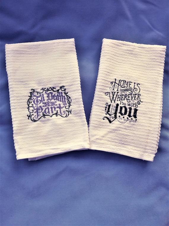 Embroidered Gothic Bar Mop Towel Set Til Death Do Etsy