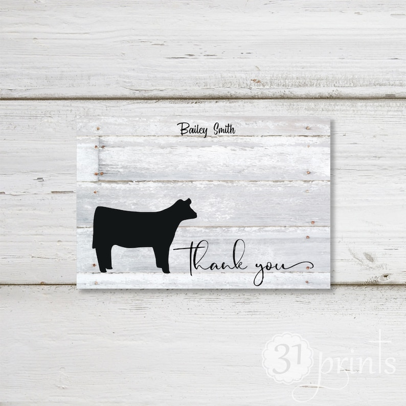 4HFFA Show Heifer Personalized Note Card SetThank YouStationary Set of 4 with envelopes Blank folded note cards