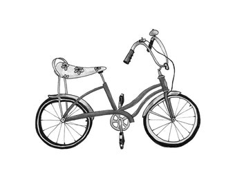 banana seat bicycle etsy 1970s Shoes Ads banana seat bike illustration art print