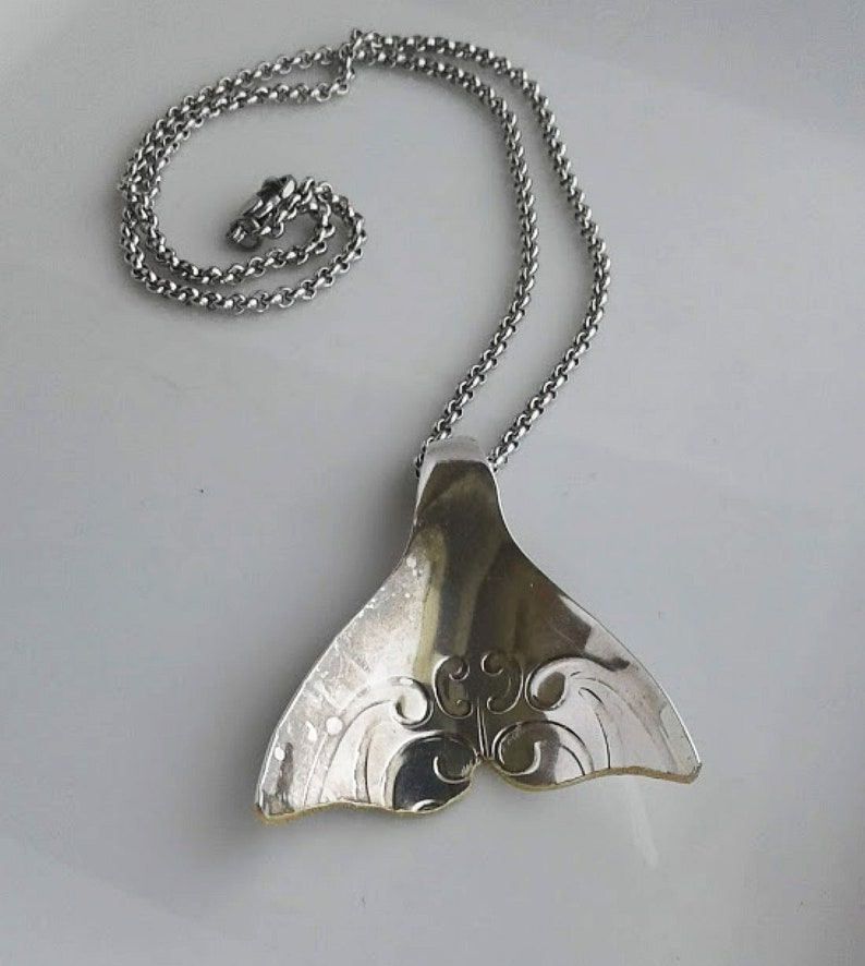 1098  Silver Spoon Whale Tail Necklace.