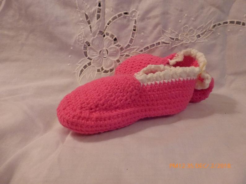 12acb3c92916b Hand Crochet Slippers Womens Pink White Yellow Granny Square Medium
