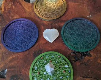 4in holographic Crystal Grids (Protection, Abundance, creativity, manifestation)