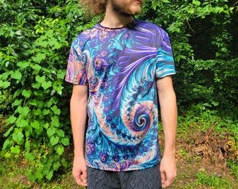 Trippy Shirt- Festival Men's Unisex T-shirt- Fractal Purple psychedelic mushroom shirt- Hippie Men's Fashion- Rave Clothing