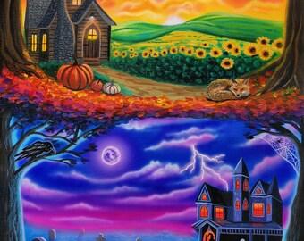 Fall Art Print- Pumpkin Art, Fall Leaves, Fall Decor, Halloween Art, Spooky art, Jack O Lantern art, Haunted House Art, colorful fall art