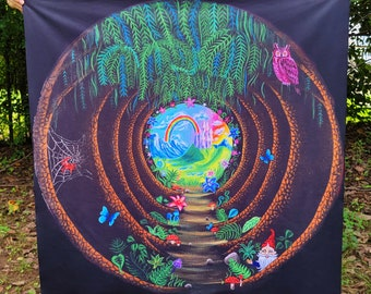 Tapestry of Forest Portal Illusion Trippy Psychedelic Boho Hippie altar cloth - Gnome Fantasy Mushroom Art- Trippy Tapestry- Hippie Tapestry