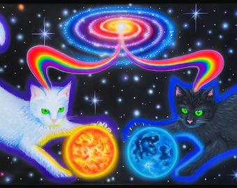 Art Print of Cosmic Cat~ Visionary Trippy Space Poster- Third Eye, Boho, Hippie Art- Trippy Painting- Kitty art, Cat art