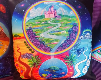 Pillow of Fantasy, Trippy, Boho, Celestial, Psychedelic, Rainbow, Hippie Artwork Decor