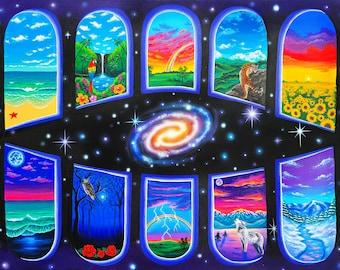 Art Print of Psychedelic Visionary Trippy Space Poster- Third Eye, Boho, Hippie Art- Trippy Painting- Mushroom art