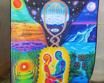 Tapestry of Trippy Soulmate, Twin Flame Art, Hippie Boho Tapestry- Soulmate Art