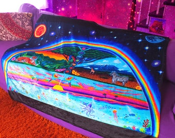 Colorful Art Throw Blanket~ Trippy, Rainbow, Boho, Visionary, Psychedelic Decor- Sun and Moon- Boho Blanket- Bold Colors- Trippy Art
