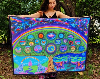 Tapestry of Tree of Life, Visionary, psychedelic, rainbow tapestry, spiritual, Fantasy art, hippy decor