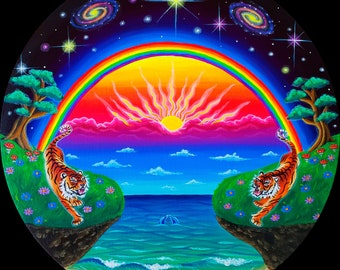 Prints of Spiritual Rainbow Psychedelic Trippy Visionary Artwork Painting Poster