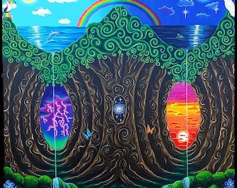 Art Print of Tree of Life Psychedelic, Visionary, Trippy, Surreal, Yin Yang Painting Trippy Poster Boho Wall Art