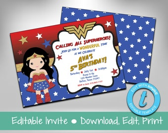 Wonder Woman Invite Party Superhero Birthday Templett Instant Download Invitation