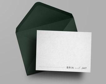 Custom Modern Notecard Set | Weddings | Bride and Groom | Simple Stationery | Modern Notecards