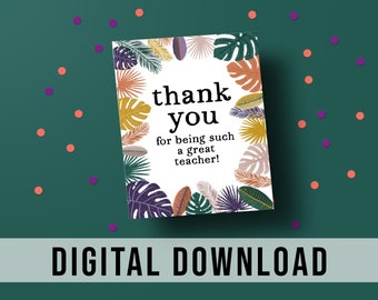 Printable Tropical Teacher Appreciation Gift Tag | Gift Tags for Teachers | Thank You Gift Tag