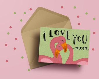 Flamingo Mother's Day Card | Mother's Day | Flamingos | Cards for Mom | Greeting Card