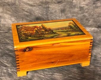 Wooden Trinket Box Trinket Box With Tree Bark Finish Small Wood Box Hunters Box With Woodland Scene Hunters Trinket Box