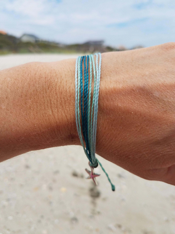 Wave Bracelet-Waterproof Bracelet-Adjustable Wave Bracelet-Twisted Wax Cord Bracelet-Ocean Wave-Choose A Color-Beach Bracelet-Waterproof