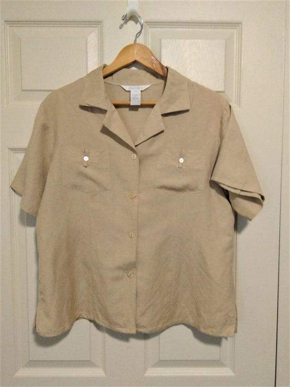 18 Vintage Button Down Short Sleeve Top Plus Size 1 X