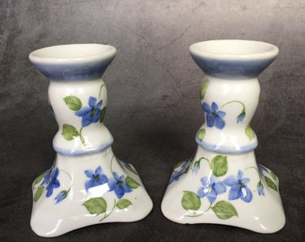 Andrea by Sadek Taper Candle Holders White with Blue Forget Me Not Flowers Set of 2