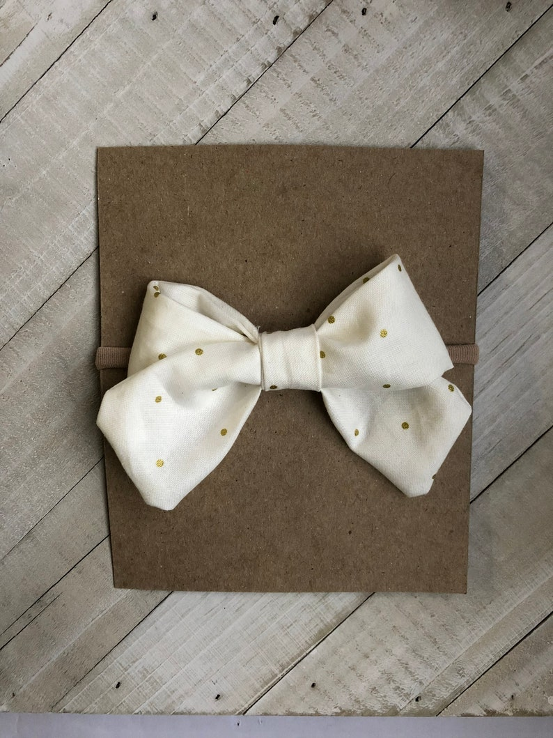 White bow Sailor bow Gold Metallic Dot Bow Nylon hedband Baby shower gift Baby headband