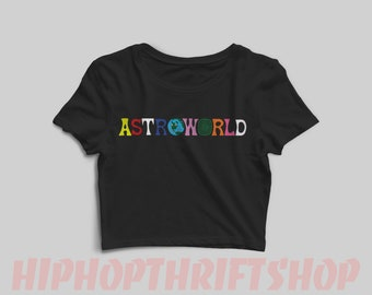 31f9f1c721e Travis Scott ASTROWORLD Women s Cropped Shirt -Sicko Mode -Wish You Were  Here -Astroworld Merch -Astroworld Tour -Astroworld Shirt