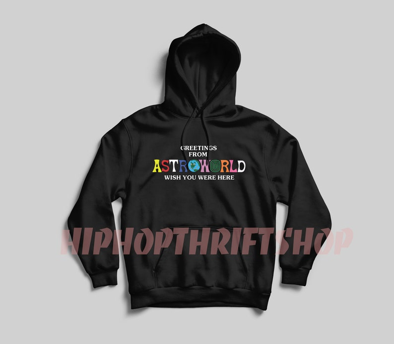 c7dd447a36e1 Travis Scott Astroworld Hoodie Greetings From Astroworld | Etsy