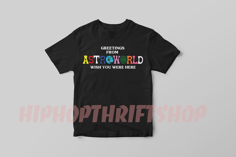 e4cb35011f43 Travis Scott Astroworld T Shirt Greetings From Astroworld | Etsy