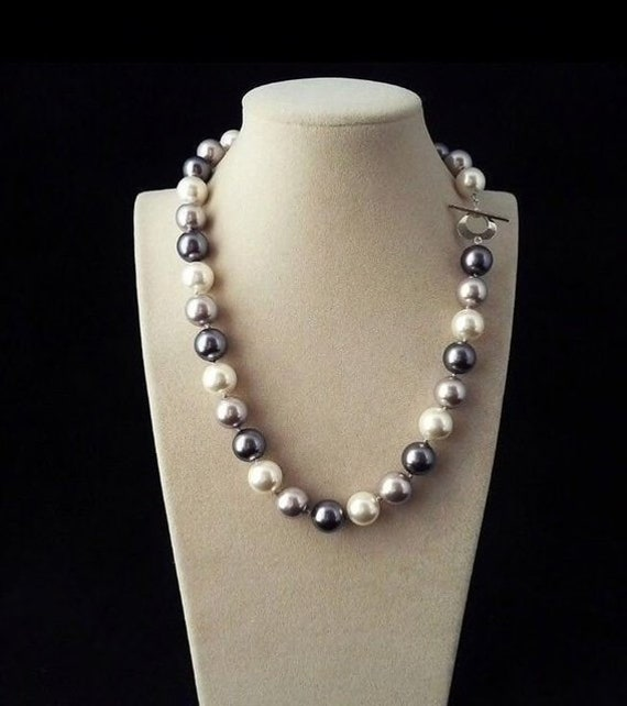 Fashion 12mm Black Round South Sea Shell Pearl Silver Dangle Earrings