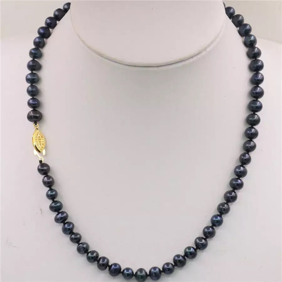 """7-8MM Black Akoya Cultured Pearl Necklace Earring 17/"""""""