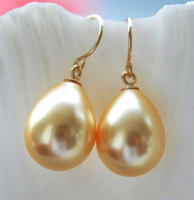 14K solid gold Huge AAA round 16mm south sea golden shell pearl earrings