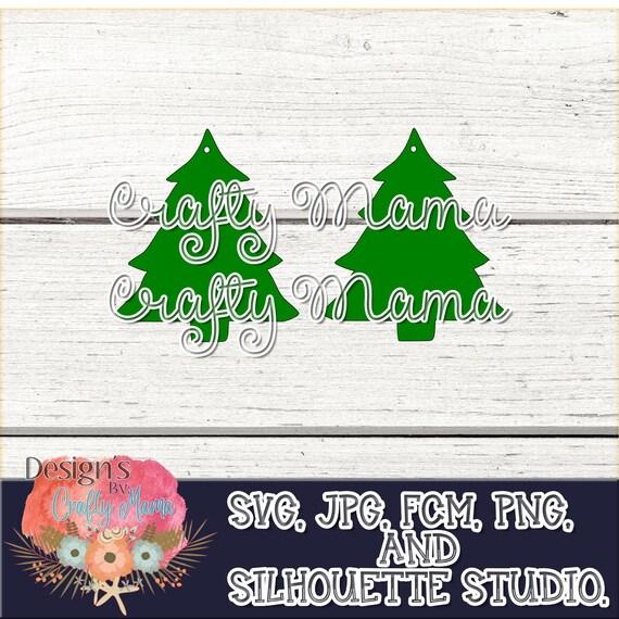 Christmas Tree Earring Svg Jpg Pdf Faux Letter Earrings Cricut Silhouette Scan N Cut Files