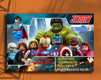 Avengers Invitation Avenger Birthday Party Superhero Digital Personalization