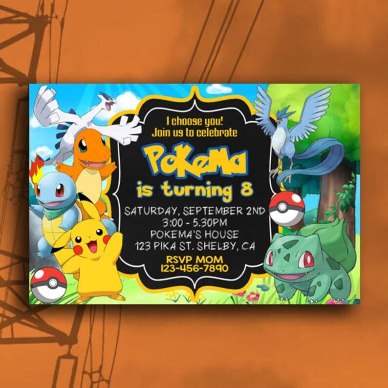 Pokemon Invitation Birthday Pikachu Digital Personalization