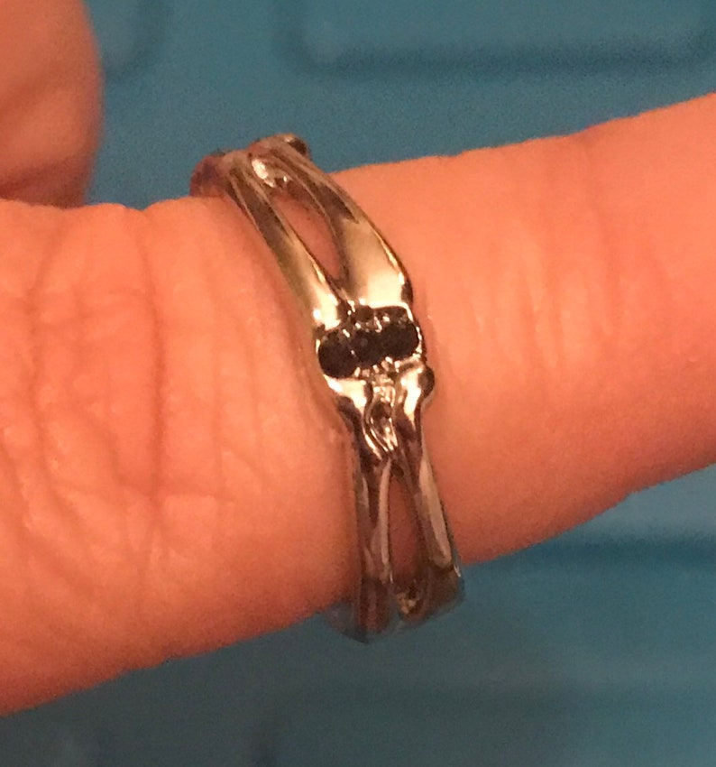 Gothic Skeleton hands and bone engagement and wedding ring!!