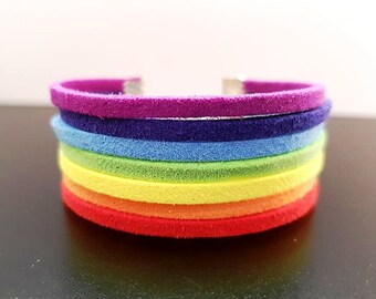 Rainbow Bracelet 7 Chakra Statement Jewelry Hippie Gift For Women Birthday Sister Girlfriend Her