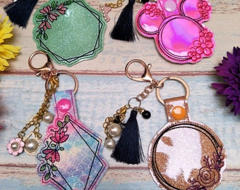 Bundle Package floral frame ITH Key Fob Embroidery Design File, Snap tab, In the Hoop Blank Key Fob Embroidery Machine Design
