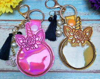 Unicorn floral ITH Key Fob Embroidery Design File, Snap tab, In the Hoop Blank Key Fob Embroidery Machine Design