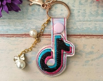 Tik tok In The Hoop Snap Tab Key Fob Embroidery Design, Snap Tab Keychain For Machine Embroidery, Key Fob Design, ITH Blank Key Fob