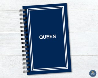 Queen Navy Blue Spiral Notebook, Half Letter, 5x7, Blank, College Ruled, Wide Ruled, 5mm Grid, Dot Grid, 50 sheets