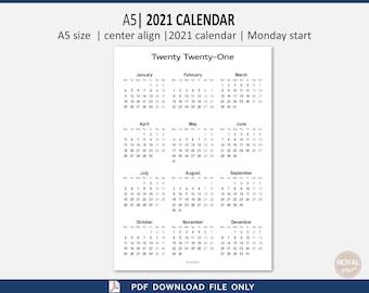 2021 year at a glance printable calendar, one page, A5 size, portrait, twenty twenty one, sunday start, monday start, pdf
