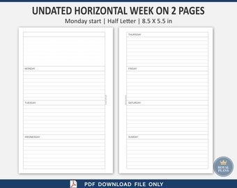 Undated Horizontal Week on two pages printable, half letter size, Monday start, PDF