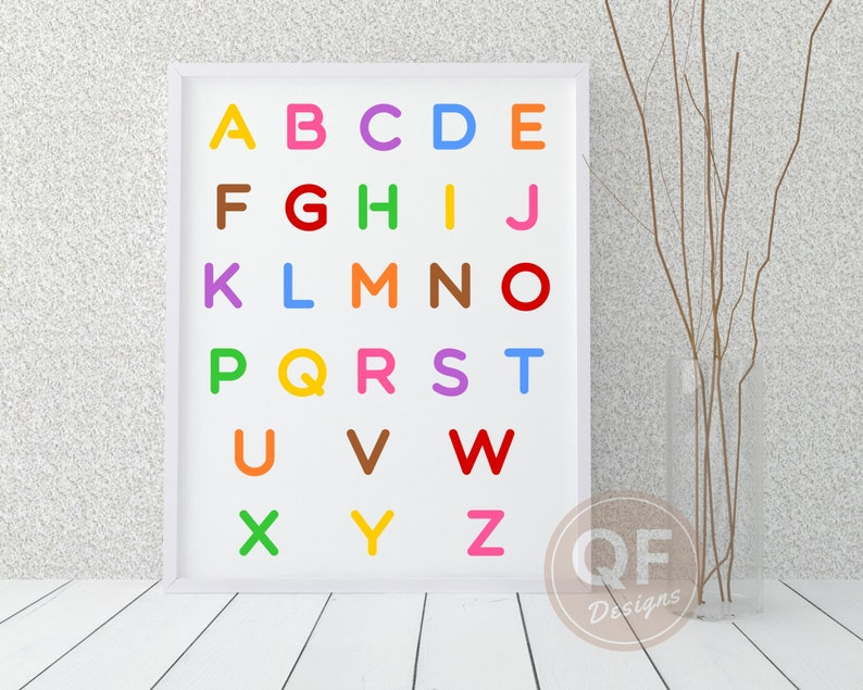image relating to Printable Poster Board named Alphabet wall artwork, printable poster board, clroom decor, again in direction of college or university, small children space decor, vibrant letters.